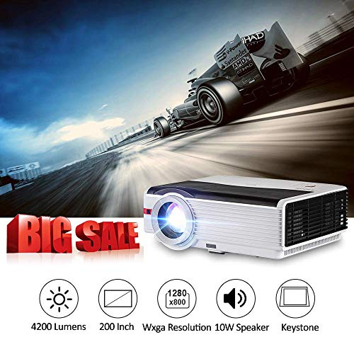 Video Projector 4200 Lumens 1080P Full HD Support, 200' Display LED Home Theater Movie Projector with HDMI USB VGA AV for iPhone Smartphone Laptop Indoor Outdoor Use Gaming, Built-in Speaker