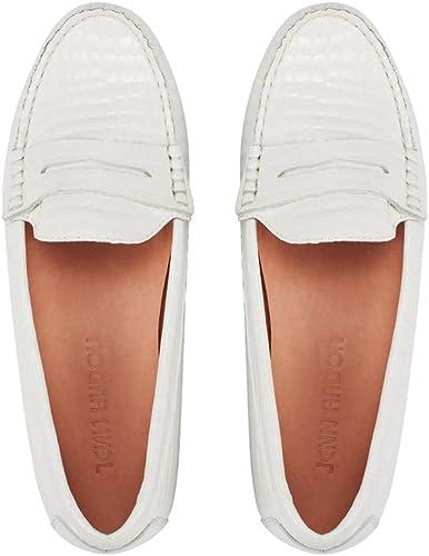 JENN ARDOR womens Slip on Loafers White