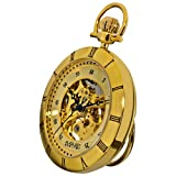 August Steiner Men's AS8017YG Mechanical Skeleton Movement Yellow Gold Pocket Watch with Link Chain
