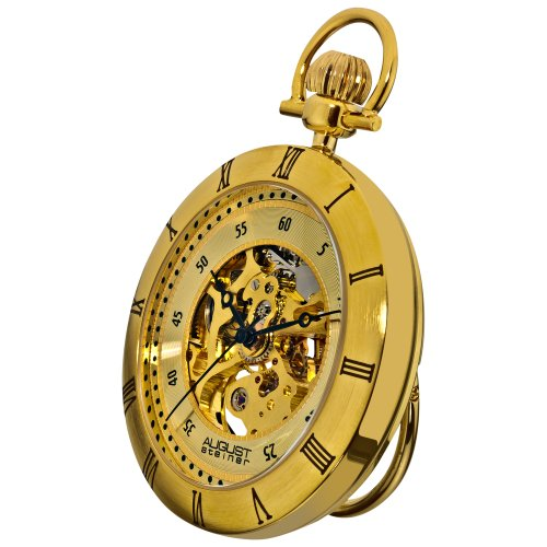 August Steiner Men's AS8017YG Mechanical Skeleton Movement Yellow Gold Pocket Watch with Link Chain ()