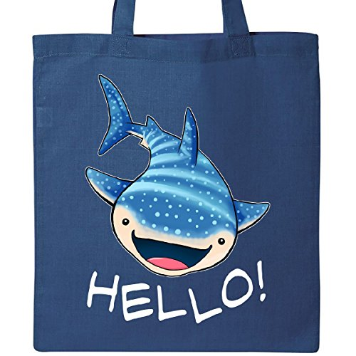 Inktastic Cute Whale Shark Says Hello Tote Bag Royal Blue