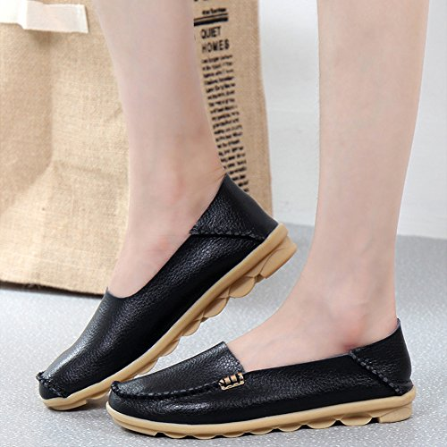 Women's Loafers Slip Casual Flat Shoes Moccasins SCIEN A Black Driving On Leather Slippers Walking gFdnqw