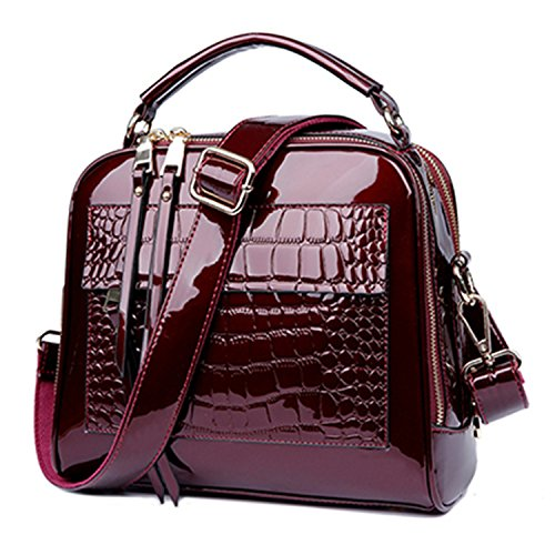 Fashion Women Patent Leather Handbags Crocodile Design Shopper Tote Bag Female Luxurious Shoulder Bags Red 25X22X12Cm