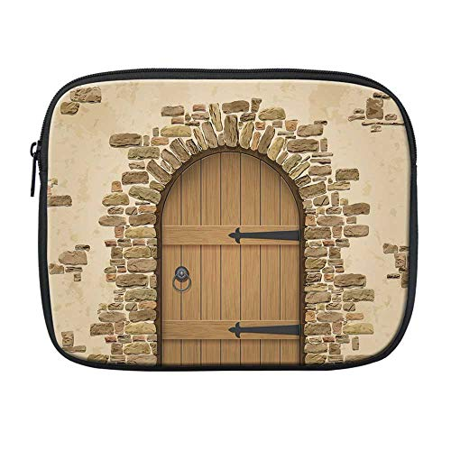 Rustic Compatible with Nice iPad Bag,Wine Cellar Entrance Stone Arch Ancient Architecture European Building Decorative for Office,One Size