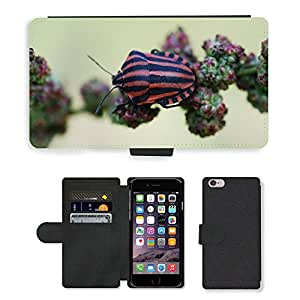 """Hot Style Cell Phone Card Slot PU Leather Wallet Case // M00117297 Insect Red Black Nature Striped // Apple iPhone 6 PLUS 5.5"""""""