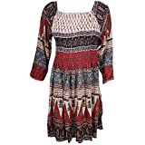 Mogul Interior Womens Fit Flare Dresses 70's Vintage Floral Printed Boho Chic M/L