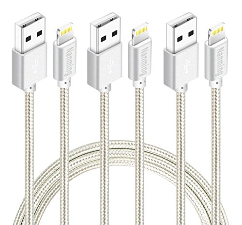 Lightning cable,3Pcs 3FT 6FT 10FT Extra Long Nylon Braided Charging Cable Cord 8-Pin Lightning to USB Cable iphone Charger Compatible with iPhone 7/ 7Plus/6/6s/6 plus/6s plus,5/5s/5c,iPad,iPod(Silver)