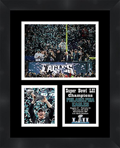 2018 Super Bowl Champions - Carson Wentz Philadelphia Eagles 2018 Super Bowl LII (52) Champions Framed 11 x 14 Matted Collage Framed Photos Ready to hang