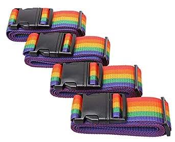 YEBMoo 4 Pack Luggage Strap, Adjustable 180cm, Long Travel Packing Belt Suitcase Baggage Security Straps (4 x Luggage Straps)