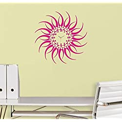 Designer Self Adhesive Removable wall Sticker Do it Yourself (DIY) Silent Analog Wall Clock- Pink Sun