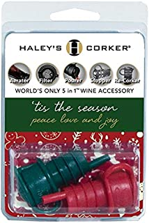product image for Haley's Corker 5-in-1 Wine Aerator, Stopper, Pourer, Filter and Re-Corker, Tis the Season' (Red Green)