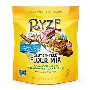RYZE Gluten Free Flour - Two Ingredients, No Additives or Fillers, Cup-for-Cup Replacement, Yellow Bag - Waffles, Pancakes, Cinnamon Rolls, Pizza Crusts and Other Batter Recipes, 4lbs