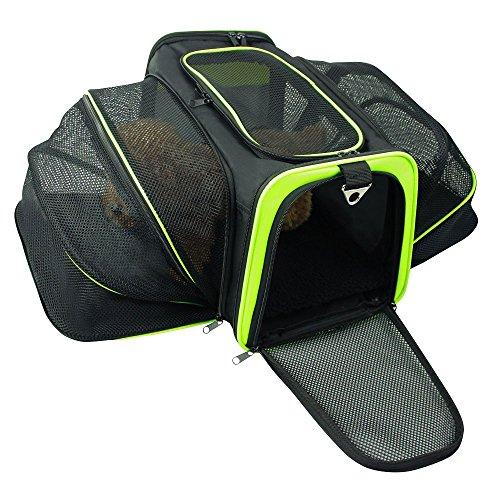[해외]Jespet Expandable 항공사 승인 Foldable 애완 동물 여행 소프트 양면 캐리어 (2 연장) / 양털 침대/Jespet Expandable Airline Approved Foldable Pet Travel Soft-Sided Carrier (Two Extension) w/ Fleece Bed
