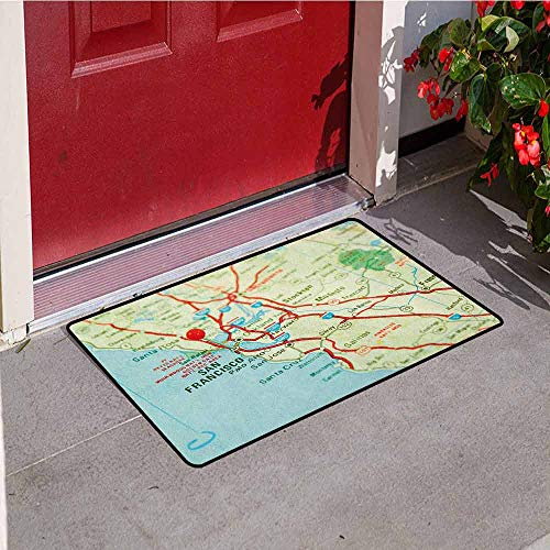 GloriaJohnson Map Welcome Door mat Vintage Map of San Francisco Bay Area with Red Pin City Travel Location Door mat is odorless and Durable W19.7 x L31.5 Inch Pale Blue Pale Green Red