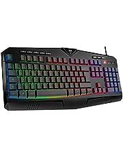 VicTsing Tastiera Gaming PC, Tastiera RGB Cablata - 8 Tasti Multimediali Indipendenti - 25 Tasti Anti-ghosting - Layout Italiano (QWERTY), per PC, PS4, Laptop/Desktop, Mac, Nero
