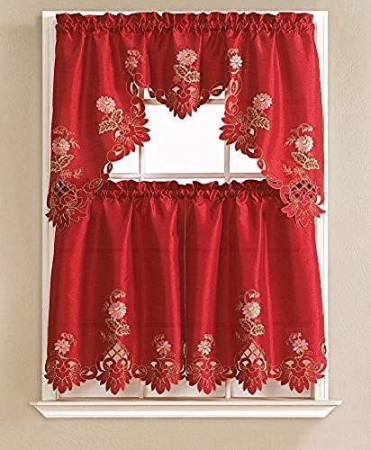 Cindy Flower Embroidered 3-Piece Kitchen Curtain Swag & Tiers Set, Burgundy, 60x36 & 30x36 (Red Kitchen Curtains)