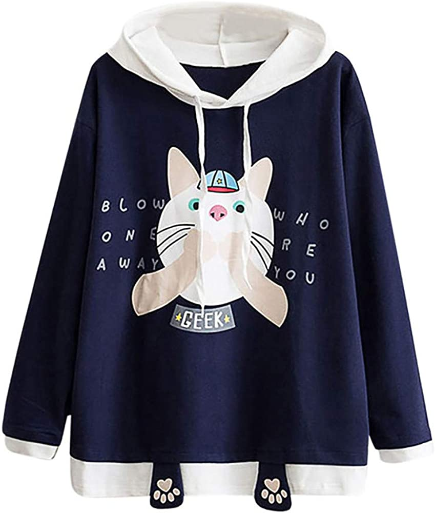 Cathalem Women Sweatshirt Kawaii Style Kitty Cat Print Long Sleeve Thickening Hoodie Tops with Pockets