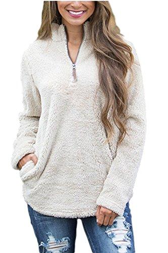 Pebble Fleece Zip Jacket (Lacostew Unisex Wool Pebble Pile 1/4 Zip Outfits Fleece Pullover Beige White M)