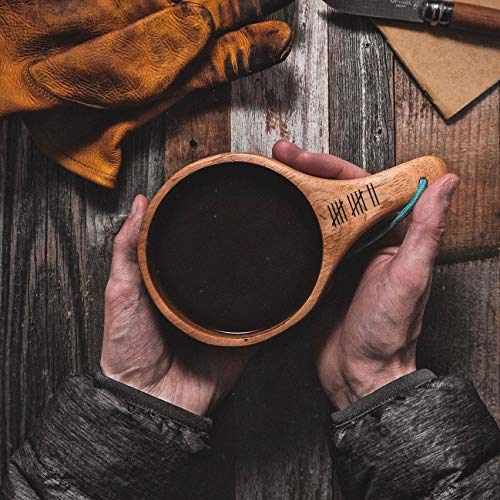 #3 capus Dursten Kuksa,Nordic Style Handmade Backpack Wooden Mug Cup for Camping Hiking Survival Bushcraft Lightweight /& Eco-Friendly