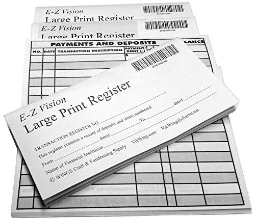 Large Print Checkbook Register Low Vision 2018-19-20 Calendar - Set of (Desk Set Checkbook Cover)