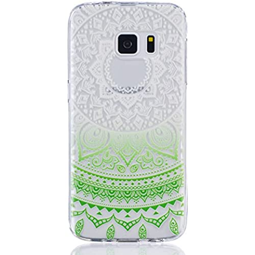 Galaxy S7 Case, TIPFLY Beautiful Clear Gradient Color Tribal Mandala Series Ultra Slim Transparent TPU Rubber Sales