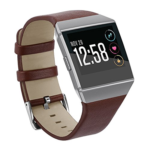 - CIDETTY for Fitbit Ionic Leather Bands, Genuine Leather Accessory Band Small for Fitbit Ionic (Small Coffee)