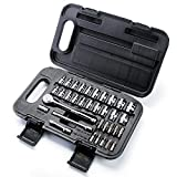 MAXPOWER 35pcs 1/4''Dr. Socket Wrench Set With Included Metric and SAE Sockets, Ratchet Handle, Extension Bars, Slot, Torx, Philips Bits, Bit Adapter, and Carrying Case