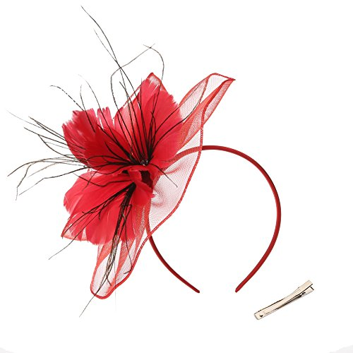DancMolly Fascinator Clip for Women Feather Derby Hats Cocktail Tea Net Headband Mesh Party Veil (Red 5)