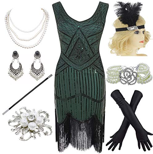 1920s Gatsby Fringed Paisley Plus Size Flapper Dress with 20s Accessories Set (XL, Green)