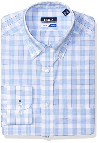 IZOD Men's Dress Shirts Regular Fit Stretch Large Plaid, Artichoke 16-16.5