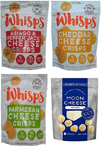 Whisps Cheese Crisps 3 Pk Variety (2.12oz) & Moon Cheese Mozzarella (2oz) – 4 Pk Assortment!