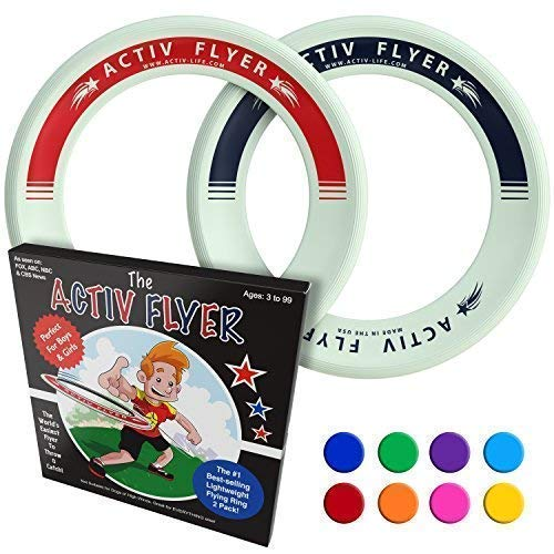 Activ Life Best Kid's Frisbees [Glow-in-The-Dark] 2 Pack - Cool Outdoor Toys for Healthy Children to Play Outside with Family & Friends - Fun Birthday Party Favors for Girls & Boys 4 5 6 7 8 9 10 11