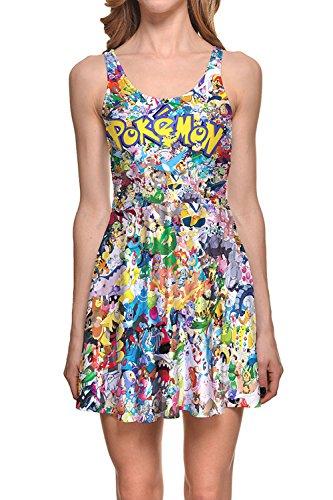 Lady Queen Women's Pokemon Scoop Skater Dress Clubwear Ball Party Skirt M Multicolor