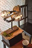 Phonograph Vintage Industrial Steampunk Desk Lamp Wood Base w Iron Cage Shade Minimalist Antique Designer Lighting Retro Edison Bulb Screw Lamp Holder Task Reading Tabletop Light Bedside Dimmable Plus