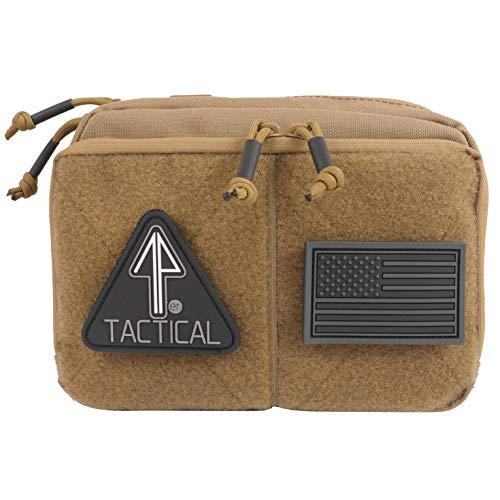 14er Tactical MOLLE Admin Pouch | 1000D Ballistic Material & YKK Self-Healing Zippers | Flag Patch Panel & MOLLE compatible PALS | EDC, Utility, Hiking, IFAK, Combat, Tool Pack (Regular, Coyote Brown) (General Admin Pouch)