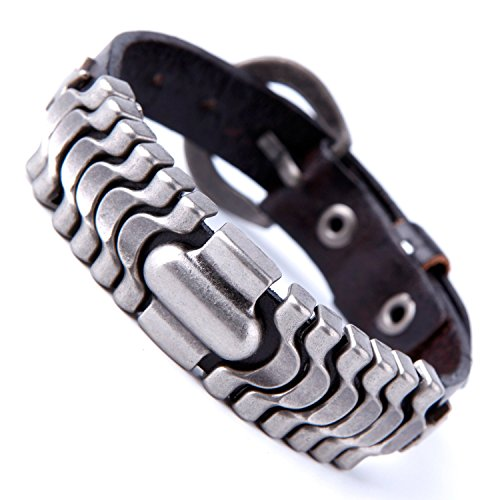 Urban Jewelry Powerful Dark Brown Leather Cuff Bracelet with Metal Design and Buckle Clasp (Leather And Metal Bracelet)