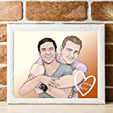 Personalized Gay Couple In Love Portrait - Romantic Long Distance Relationship Gifts For Husband - Different Creative I Miss You Ideas