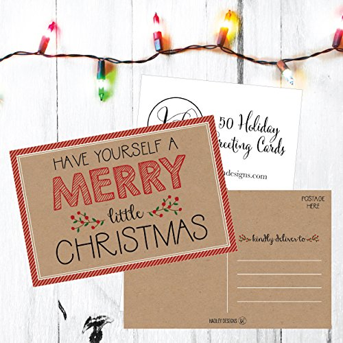 50 Kraft Holiday Greeting Cards, Cute Fancy Blank Winter Christmas Postcard Set, Bulk Pack of Premium Seasons Greetings Note, Happy New Years Cards for Kids, Business Office or Church Thank You Notes Photo #4