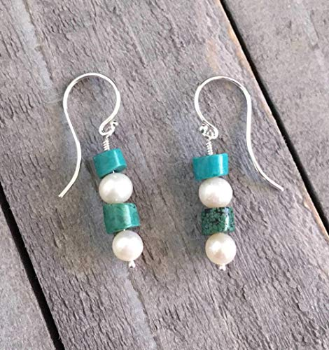 Of Mother Pearl Earrings Turquoise (Pearl Earrings White Cultured And Turquoise Gemstones Sterling Silver Fish Hooks Ladies Gift Idea)