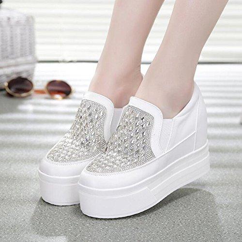 PP FASHION Womens Platform Pump Diamonds Causal Sneaker Fashion Hidden Heel Shoes White z3g6CvT