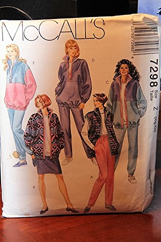 McCall's Pattern 7298 Size Z (Xlg,Xxl) - Misses' Unlined Jacket, Vest, Top, Skirt And Pants