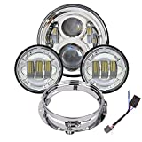 7 inch Harley Daymaker LED Headlight with 4.5 inch Matching Passing Lamps for Harley Davidson Classic Electra Street Glide Fat Boy Road King Heritage Softail with Bracket Mounting Ring