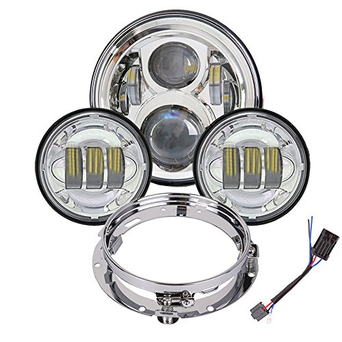 7 inch Harley Daymaker LED Headlight with 4.5 inch Matching Passing Lamps for Harley Davidson Classic Electra Street Glide Fat Boy Road King Heritage Softail with Bracket Mounting Ring Harley Fat Boy