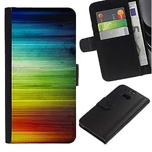 KingStore / Leather Etui en cuir / HTC One M8 / Rainbow Stripes ondas de colores Derechos LGBT