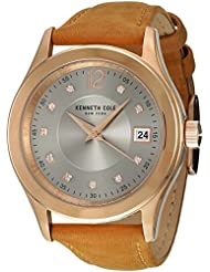 Kenneth Cole New York Womens Classic Quartz Stainless Steel and Leather Dress Watch, Color:Brown (Model: 10030801)