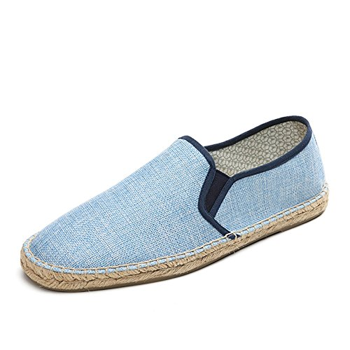 Hombre Azul Zapatos Blanco Comfort Slip Para Ons Mocasines F de Otoño Verano Primavera HUAN y Casual Lino xZ6dwxS