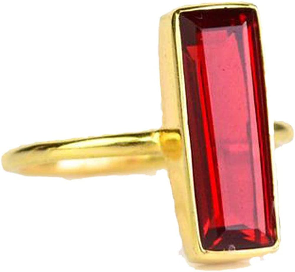 DV Jewels Garnet Quartz Gemstone Bar Ring