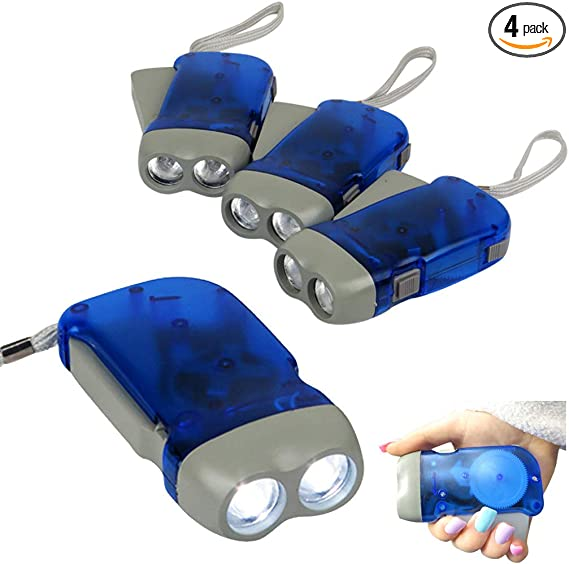 4x Outdoor Hand Crank LED Flashlight No-battery Squeeze Powered Emergency Light