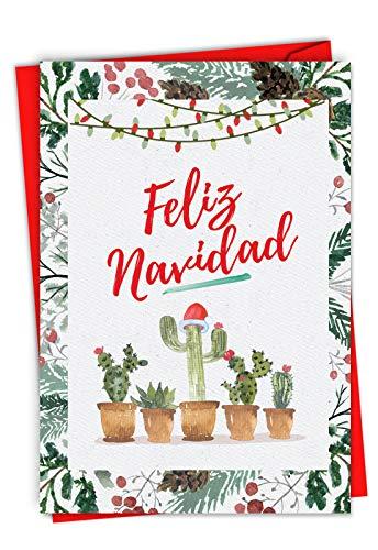 (Funny Cactus 'Feliz Navidad' Merry Christmas Card 4.63 x 6.75 inch - Spanish Holiday, Happy New Year, Xmas Note - Feliz Año Nuevo y Felices Fiestas - Stationery Notecard (w/Envelope))