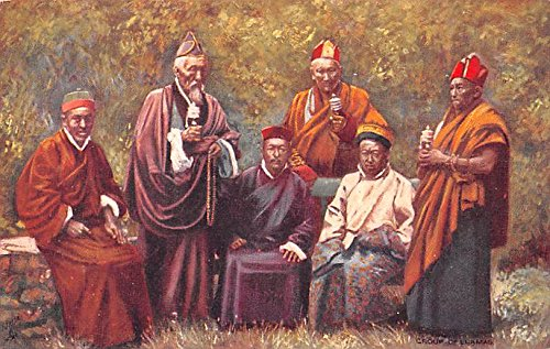 Group of Lamas, Priests of Buddhist Religion India Postcard